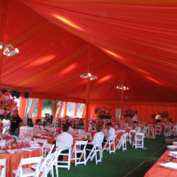 Large wedding with fabric draped tent